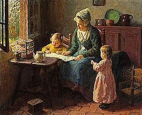 Mother Reading with Children: Bernard Pothast
