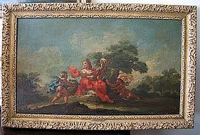 Goddess with Cherubs in Landscape: 18th C Italian
