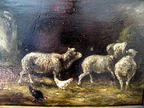 Sheep & Chickens in Barn: Charles F Ceramano