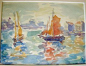 Sailboats in Harbor: Henri Edmond Cross