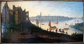 17th Landscape with Castle & People: Dirck Verhaert