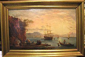 Landscape:Harbor,Ships,Figures:Claude Vernet school
