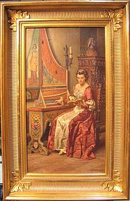 Woman Playing Harpsicord: Fortunino Matania