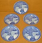 Antique Japanese Set of 5 Printed Porcelain Plates
