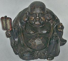 Antique Japanese Mingei Hotei Wood Carving