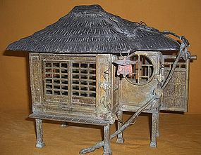 Antique Japanese Bronze Sage Hut Lamp C.1935