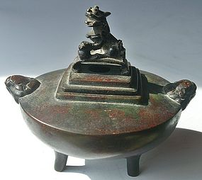 Antique Japanese Bronze Incense 'Koro' Censor