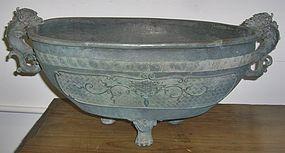 Antique Japanese Bronze Temple Water Bowl