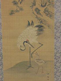 Antique Japanese Kano Ryoji Crane Scroll, Edo Period