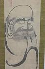 Antique Japanese Daruma Scroll, Signed Futo Sanjin