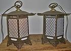 Antique Japanese Pair Temple Lanterns C.1930