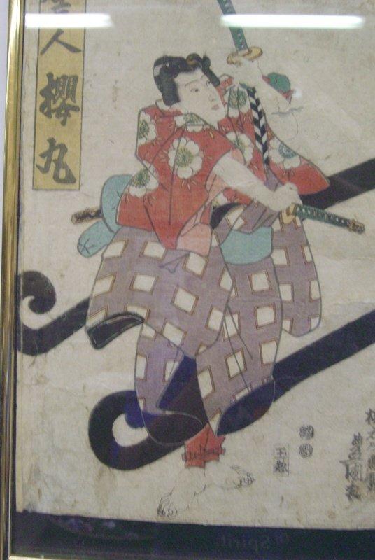 Ant ique Japanese Toyokuni C.1850 Tryptich Ukiyo-e