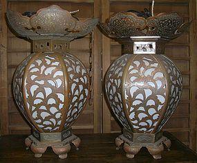 Antique Japanese Temple Lanterns Dated