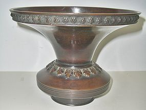 Antique Japanese Bronze Art Deco Vase, C.1930