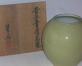 Antique Japanese Celedon  Flower Vase Signed Einosuke