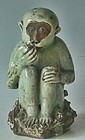 Antique Japanese Ceramic Monkey Okimono/Incense Burner