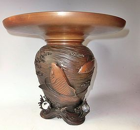 Antique Japanese Bronze Ikebana Usubata Flower Vase