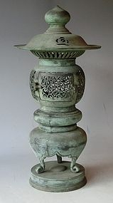 Antique Japanese Bronze Meiji Period Temple Lantern