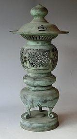 Antique Japanese Bronze Meiji Period Temple Lantern