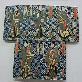 Antique Japanese Kunisada I  Set of Woodblock Ukiyo-e