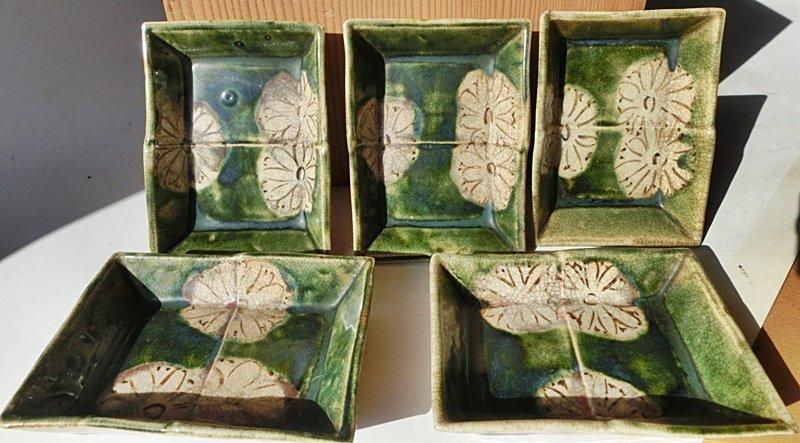 Antique Japanese Taisho Period Set of Oribe Tea Ceremony Sweets Plates