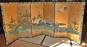 Antique Japanese Edo Period C.1860 Small  Kano School Crane Screen