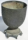 Antique Japanese Bronze Usubata Tea Ceremony Flower Vase C.1920