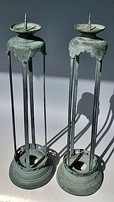 Antique Japanese Pair Bronze Temple Candlestands, C.1920