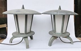 Antique Japanese Showa Period C.1950 Bronze Garden Lanterns