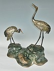 Antique Japanese Crane/Turtle Okimono Showa Period C.1950