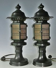 Antique Japanese Pair Bronze Hexogonal Buddhist Temple Lamps