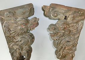 Antique Japanese Buddhist Temple Dragon Carvings C.1860