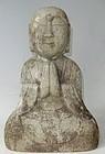 Antique Japanese Granite Jizo Guardian Diety C. 1870