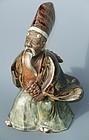 Antique Japanese Ceramic Sambaso Noh Figure C. 1910