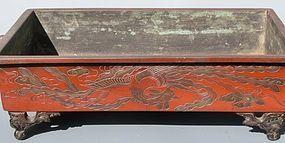 Antique Japanese Late Meiji Period Bronze Suiban Flower Vessel