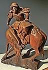Antique Japanese Keyaki Zelkova Samurai Carving C.1925