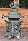 Antique Japanese Bronze C.1900 Lamp