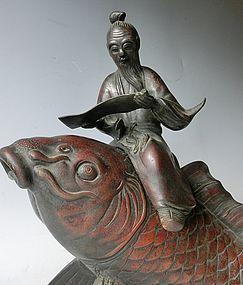 Antique Japanese Large Bronze Sage Riding Carp Incense Burner C.1910