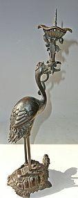 Antique Japanese Meiji Period C.1890 Bronze Turtle/Crane Candlestand