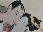 Antique Japanese Meiji Period C.1900 Huge Shunga Erotic Scroll