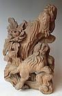 Antique Japanese Zelkova Wood Shishi Lion Carving C.1935