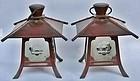 Antique Japanese Pair Copper Lanterns C.1940