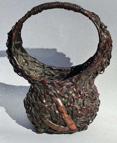Antique Japanese Wagumi Bamboo Ikebana Flower Basket