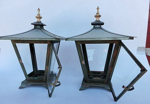 Antique Japanese Bronze/Copper Pair Glass Lamps