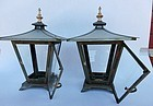 Antique Japanese Bronze/Copper Pair Glass Lamps