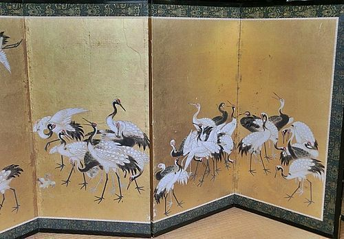 Antique Japanese 6 panel Cranes Screen Painting C.1875