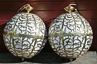 Antique Japanese Pair Brass Globe Buddhist Altar Lamps