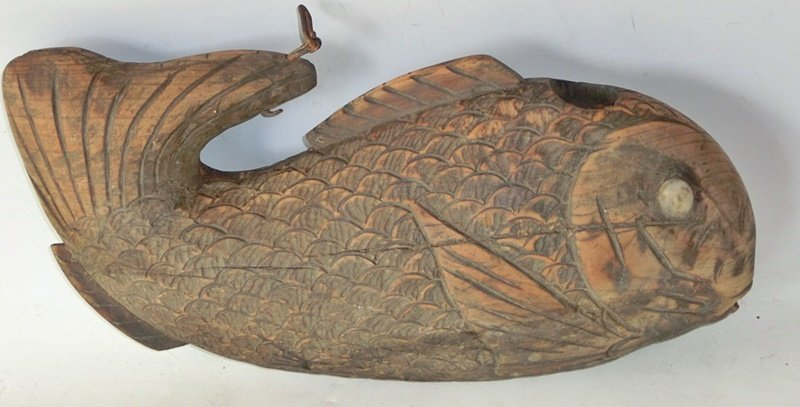 Antique Japanese Jizaikagi Zelkova Wood Fish C.1910