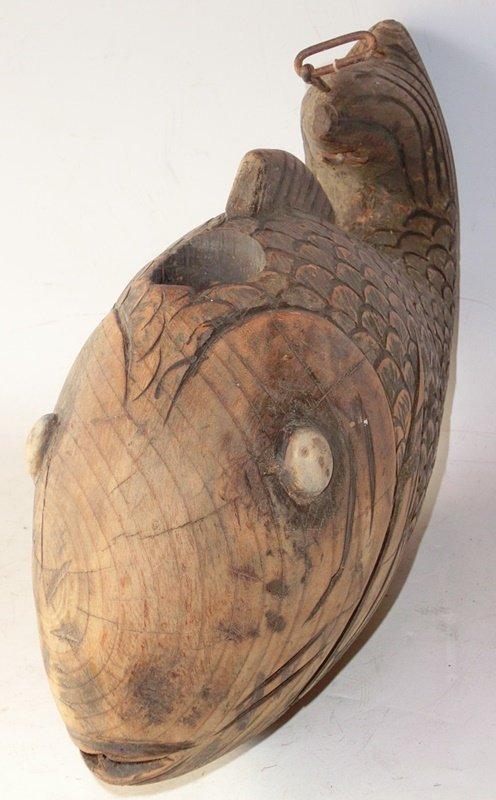 Antique Japanese Jizaikagi Zelkova Wood Fish C.1910