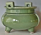 Antique Japanese Celadon Incense Burner / Vase C.1930